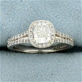 GIA 1.3ct TW Halo Engagement Ring in 14K White Gold