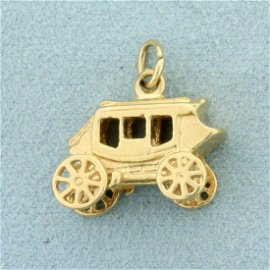 Stage Coach Charm or Pendant in 14K Yellow Gold