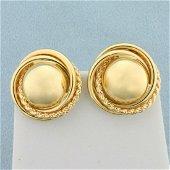 Designer Sphere Hoop Earrings in 14K Yellow Gold