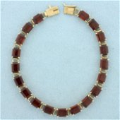 19ct TW Garnet Line Bracelet in 14K Yellow Gold