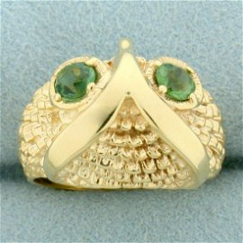 Owl Ring With Green Tourmaline in 14K Yellow Gold