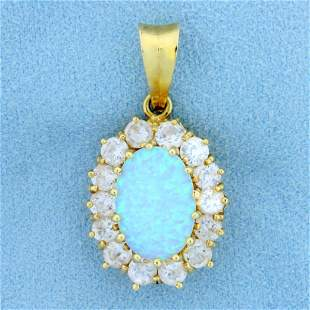 Italian Made Opal and CZ Pendant in 14K Yellow Gold