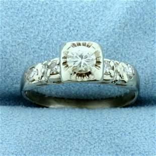 Vintage Diamond Engagement Ring in 14K White Gold