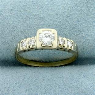 Vintage Diamond Engagement Ring in 14k Yellow and White