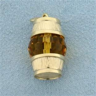 Citrine Barrel Pendant in 18k Yellow Gold