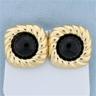 Vintage Onyx Earrings in 14K Yellow Gold