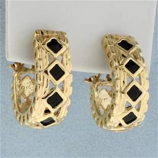 Vintage Onyx J Hoop Earrings in 14K Yellow Gold