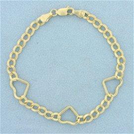 Italian Made Heart Link Bracelet In 14K Yellow Gold