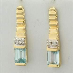 Sky Blue Topaz and Diamond Earrings in 14K Yellow Gold