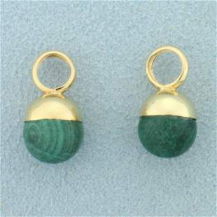 Malachite Bead Hoop Earring Enhancers in 14K Yellow