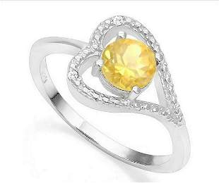 Citrine & Diamond Heart Ring in Sterling Silver