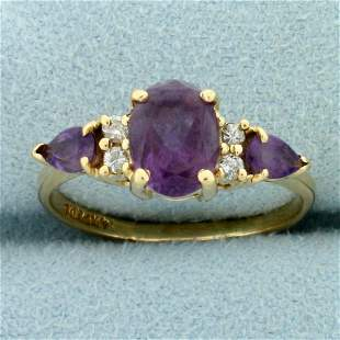 2ct TW Amethyst and Diamond Ring in 14k Yellow Gold
