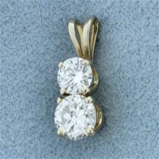 2 Stone Diamond Pendant in 14K White Gold