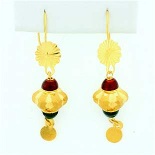Ruby and Emerald Dangle Earrings in 21K Yellow Gold