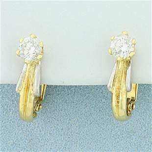 1.25ct TW Diamond Half Hoop Earrings in 18K Yellow and