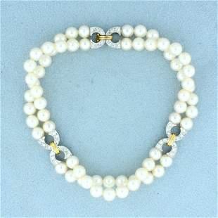 Designer Diamond and Akoya Pearl Bracelet in 14K White