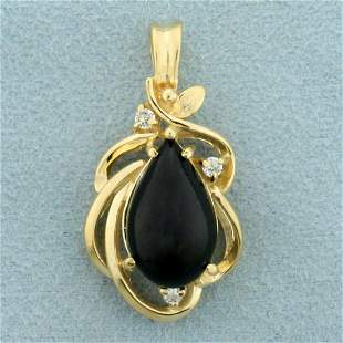 Vintage Onyx and White Sapphire Pendant in 14K Yellow