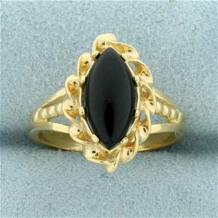 Vintage Onyx Solitaire Ring in 14K Yellow Gold