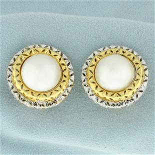 Mabe Pearl Clip on Statement Earrings in 18K Yellow and