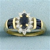 1ct TW Sapphire and Diamond Halo Design Ring in 14K