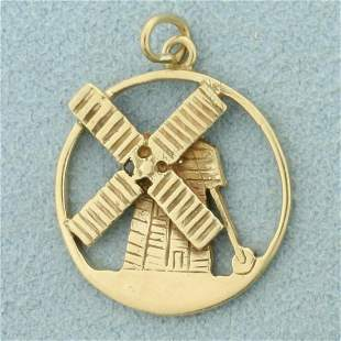 Windmill Charm or Pendant in 14K Yellow Gold