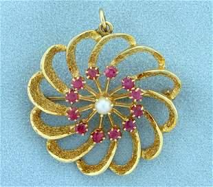 Vintage Ruby and Pearl Pinwheel Design Pin or Pendant