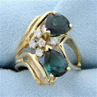 Over 2ct Chrome Tourmaline and Diamond Ring in 14K
