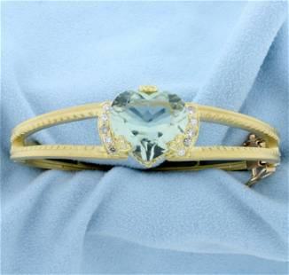 Signed Designer Aquamarine Heart and Diamond Bangle
