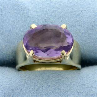 Large 5ct Oval Amethyst Ring in 14K Yellow Gold