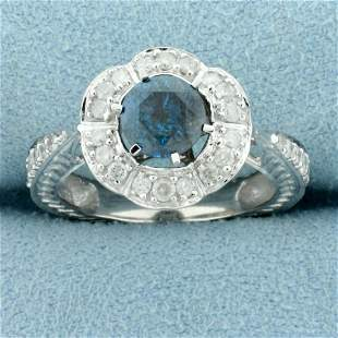 1.5ct TW Blue and White Diamond Ring in 14K White Gold