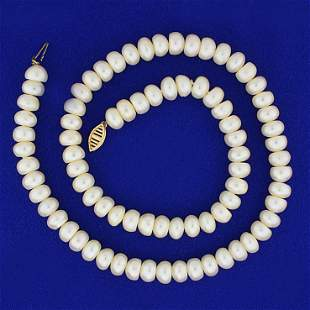 8.2mm Mabe Pearl Strand Necklace with 14K Yellow Gold