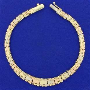 Italian Made Tri-Color Basket Weave Graduated Bracelet