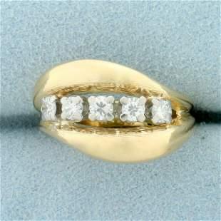 1/2ct TW Five-Stone Diamond Ring in 18K Yellow Gold