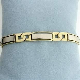 Designer Two Tone Bar Design Bracelet in 14K Yellow and