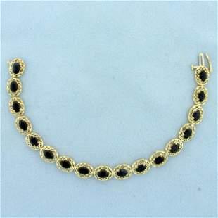 Vintage Filigree 8.5ct TW Sapphire Line Bracelet in 10K