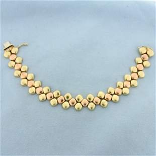 Two Tone Pebble Design Bracelet in 14K Yellow and Rose