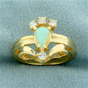 Natural Opal and Diamond Ring in 14K Yellow Gold