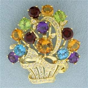 Rainbow Colored Gemstone and Diamond Flower Basket