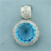 13ct Blue Topaz and Diamond Pendant in 14K White Gold