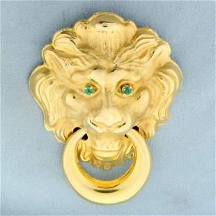 Large Emerald Lion Design Door Knocker Pendant or Pin