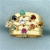 Multi Gemstone and Puzzle Ring in 14K Yellow Gold