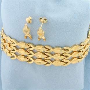 Designer Link Wide Chain Bracelet and Earring Set in