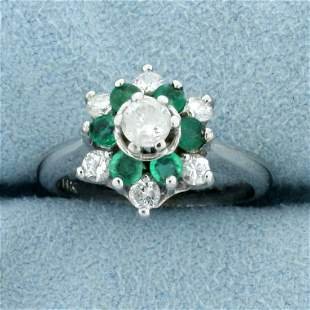 Vintage Emerald and Diamond Target Ring in 14K White