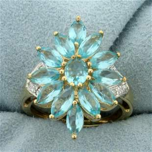 Blue Topaz and Diamond Flower Design Statement Ring in