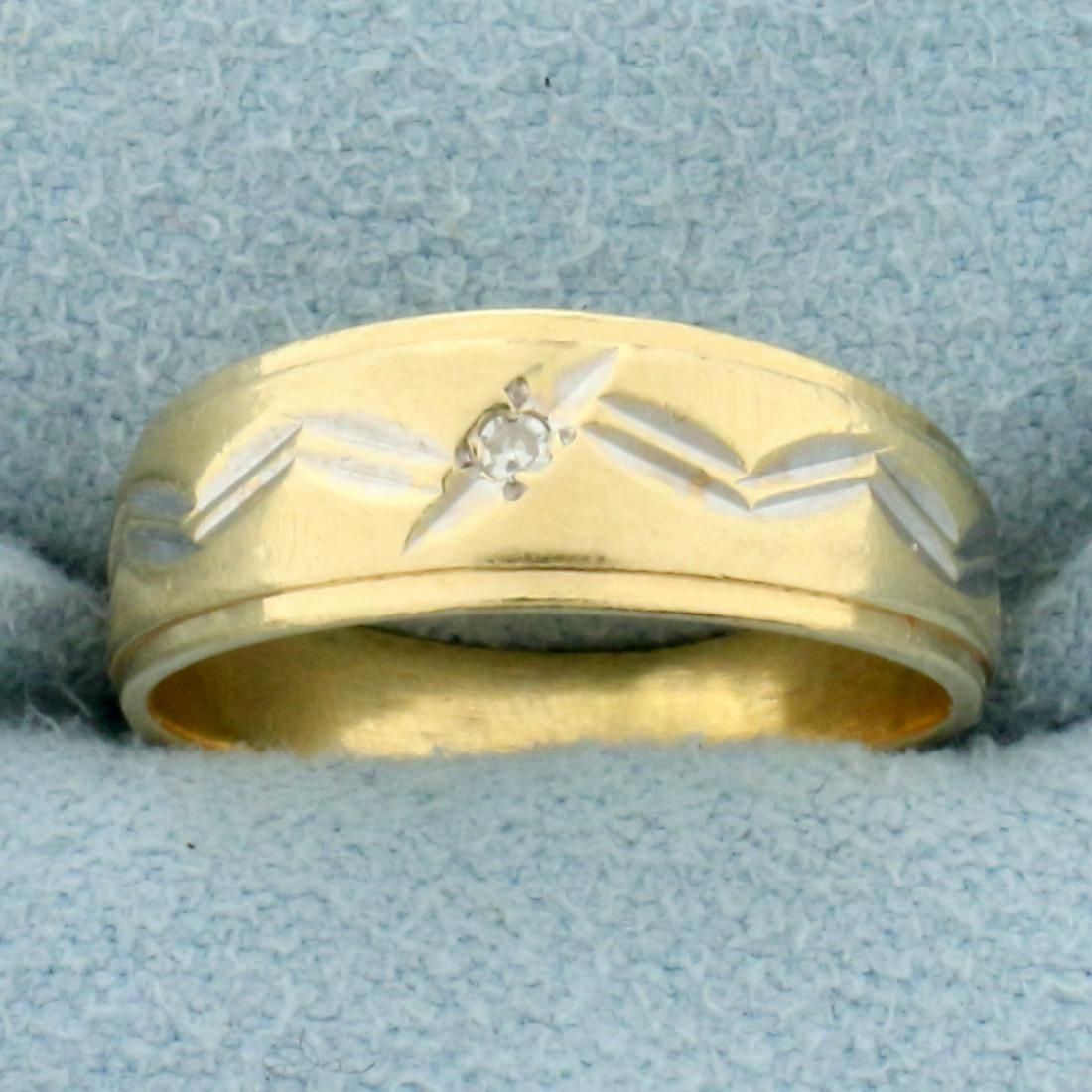 Vintage Two Tone Diamond Pinky Ring in 14K Yellow and