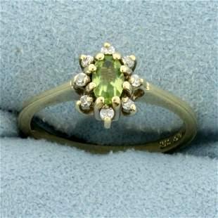 Peridot and Diamond Flower Design Ring in 10K Yellow