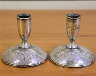 Gorham Star Design Sterling Silver Candlesticks