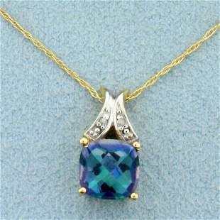 Mystic Topaz and Diamond Necklace in 10K Yellow And