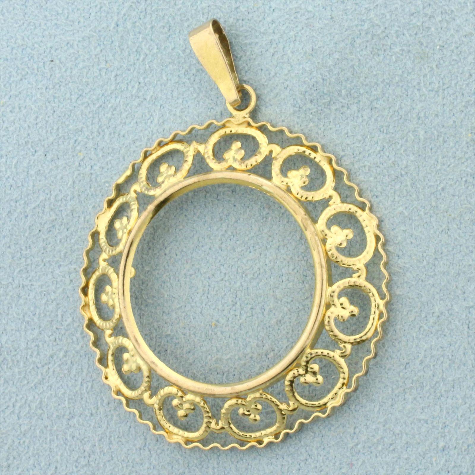 22mm Coin Bezel Pendant in 9K Yellow Gold