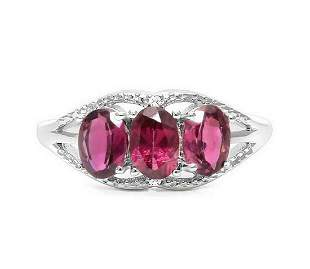Rhodolite Garnet & Diamond 3-Stone Ring in Sterling
